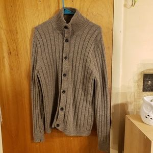 Gap mens button and zip cable cardigan wool blend